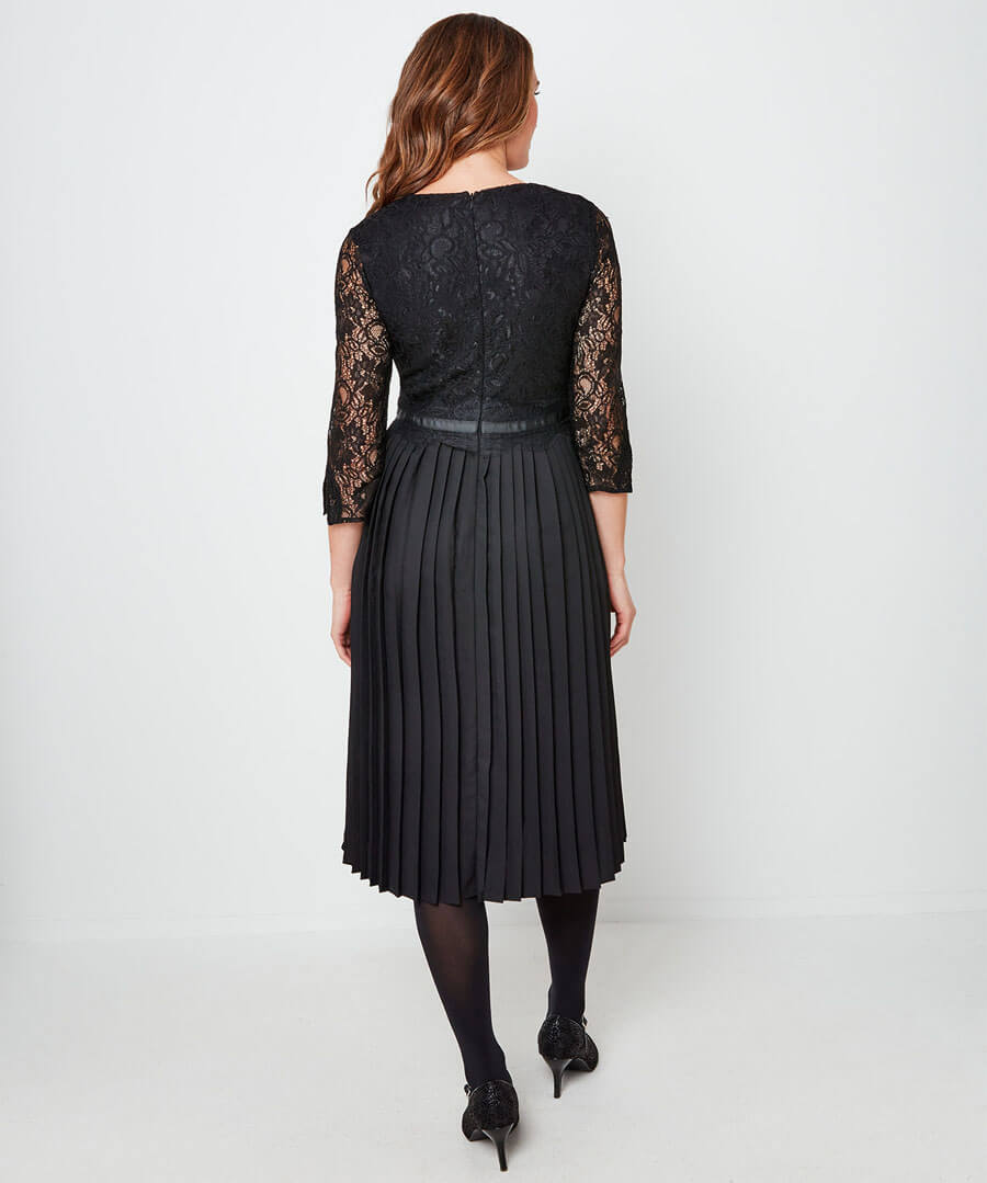 Exceptional Lace Pleated Dress Model Back