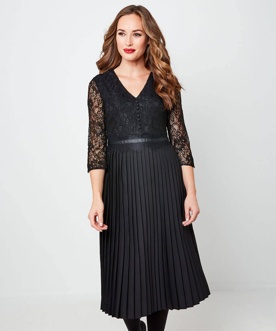 Exceptional Lace Pleated Dress Back
