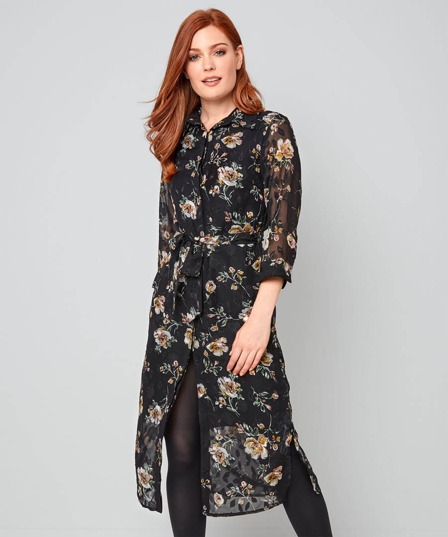 Winter Floral Shirt Dress Model Front