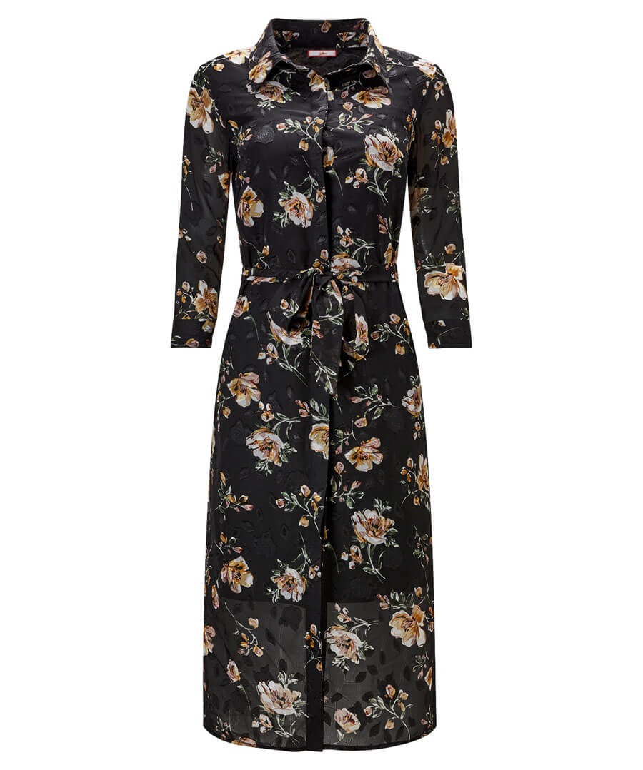 Winter Floral Shirt Dress