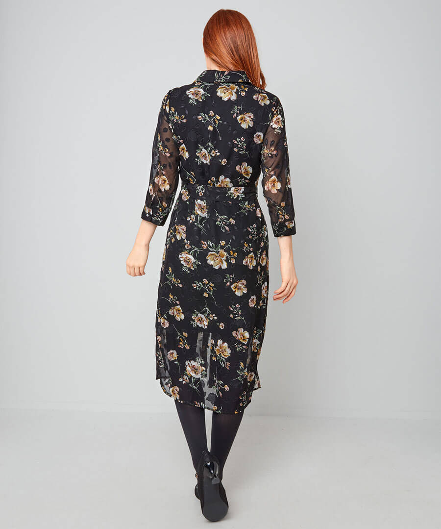 Winter Floral Shirt Dress Model Back