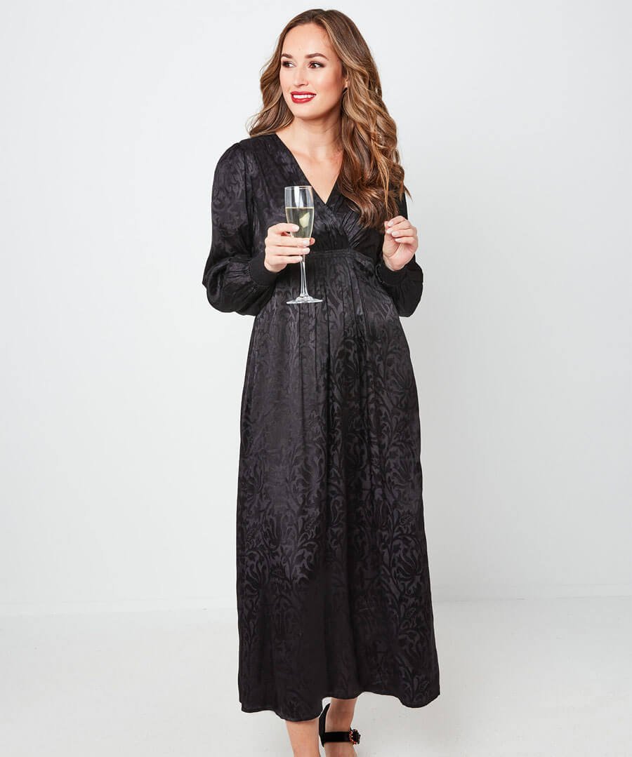 Floral Jacquard Maxi Dress Model Front