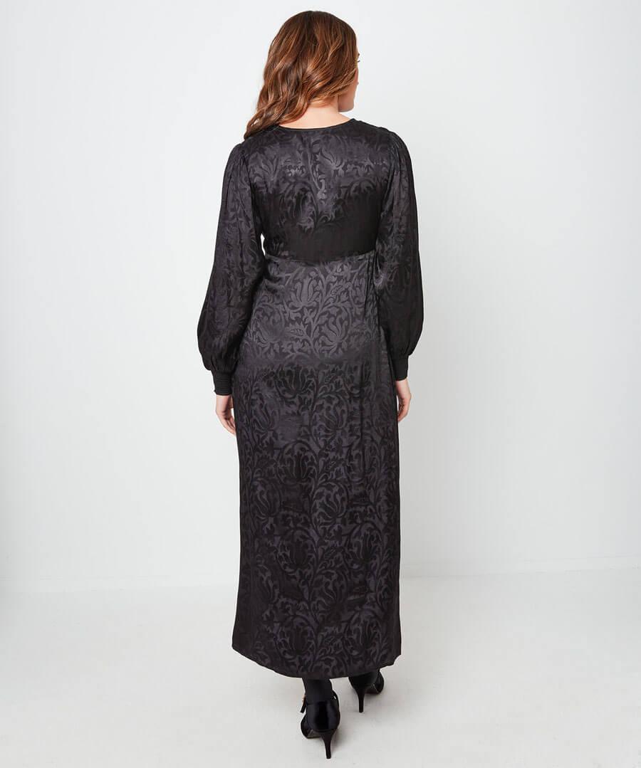 Floral Jacquard Maxi Dress Model Back