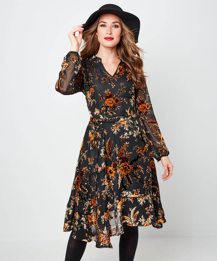 Elegant Devore Dress Model Front