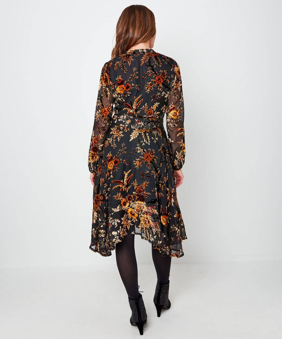 Elegant Devore Dress Model Back