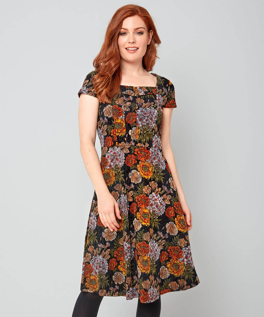 Lush Flocked Dress Model Front
