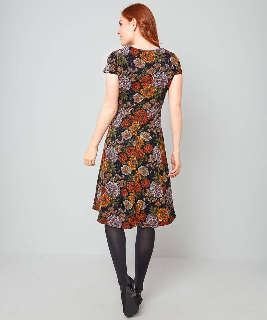 Lush Flocked Dress Model Back