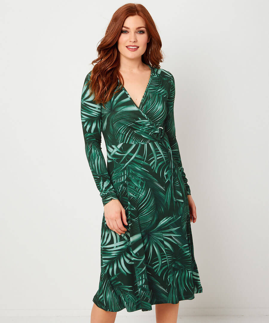 Night Palm Dress Model Front