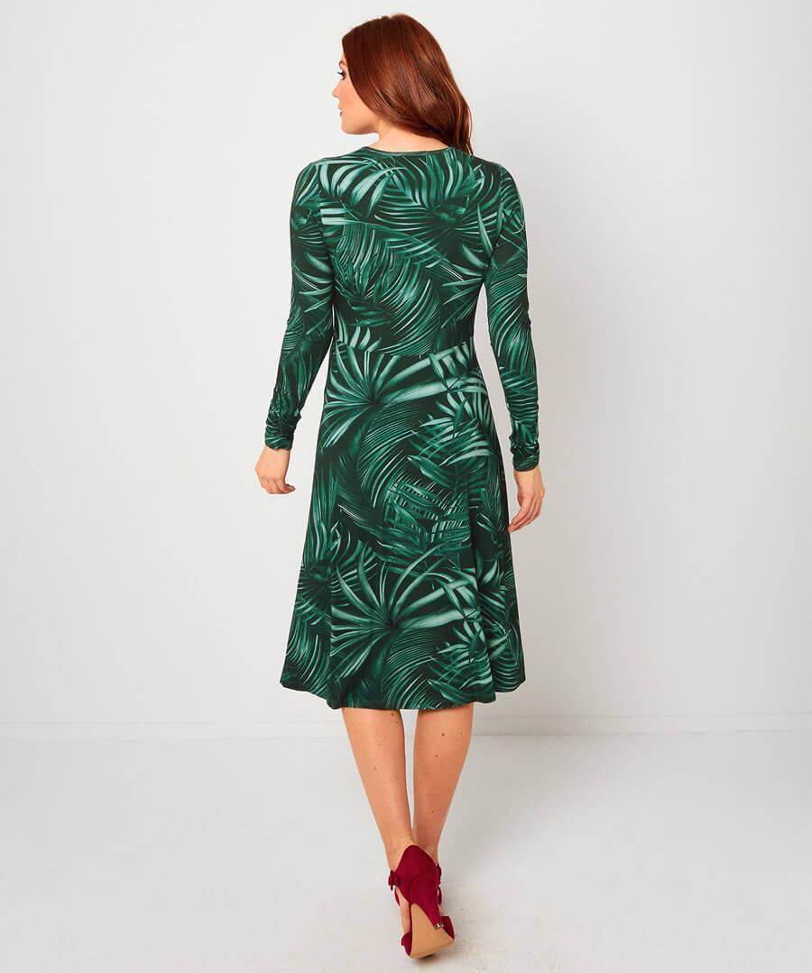 Night Palm Dress Model Back