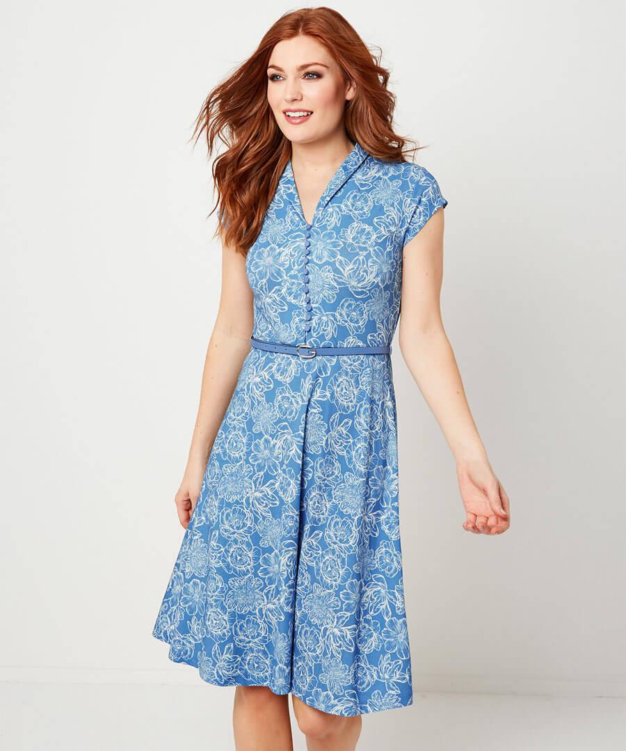 Ditsy Vintage Dress Model Front