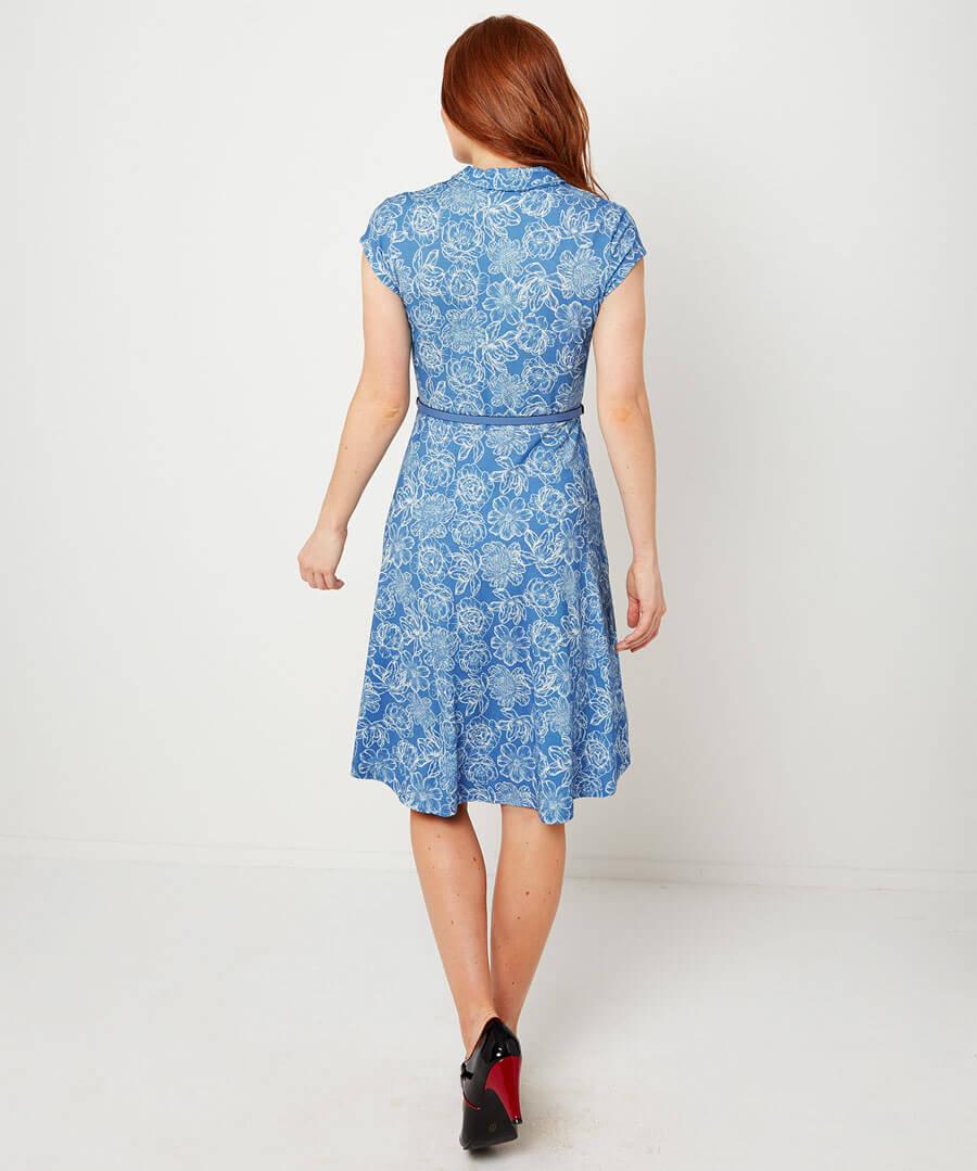 Ditsy Vintage Dress Model Back