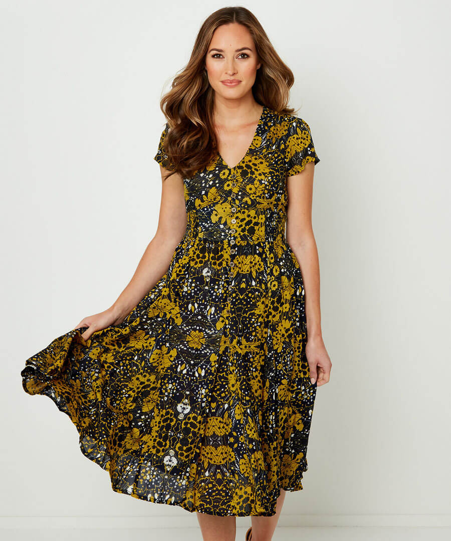 Jazzy Print Dress Model Front