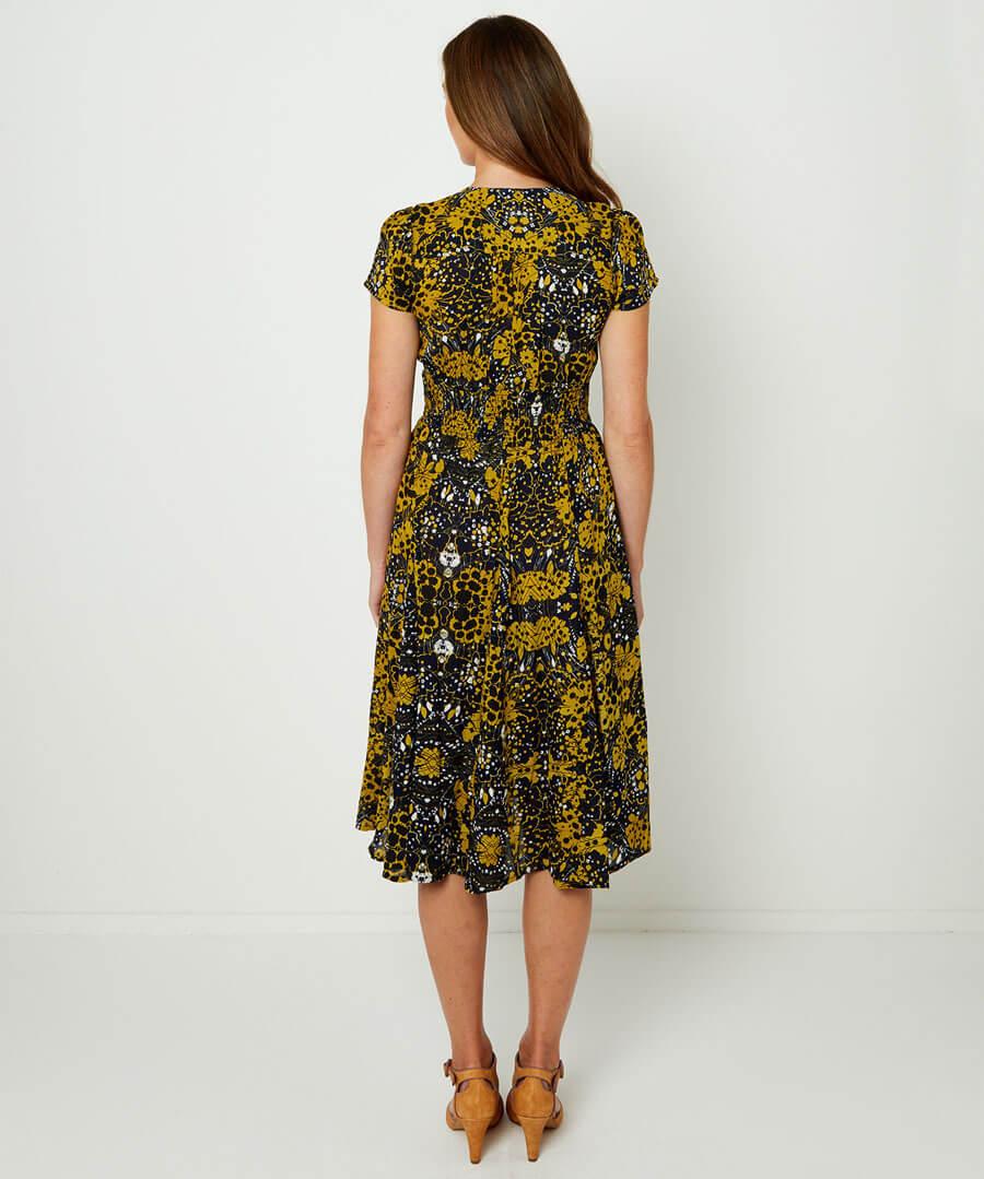 Jazzy Print Dress Model Back