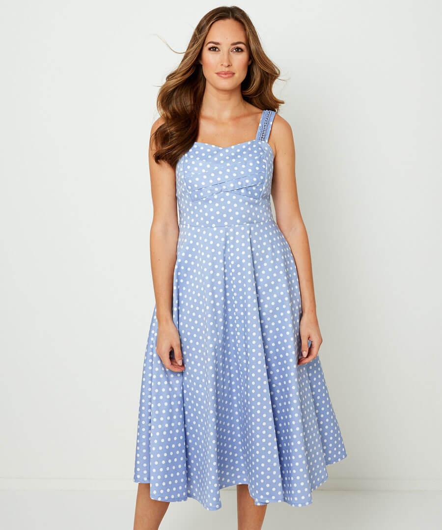 Vintage Polka Dot Dress Model Front