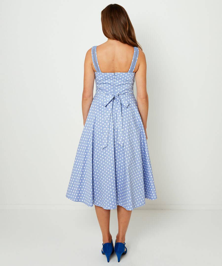 Vintage Polka Dot Dress Model Back