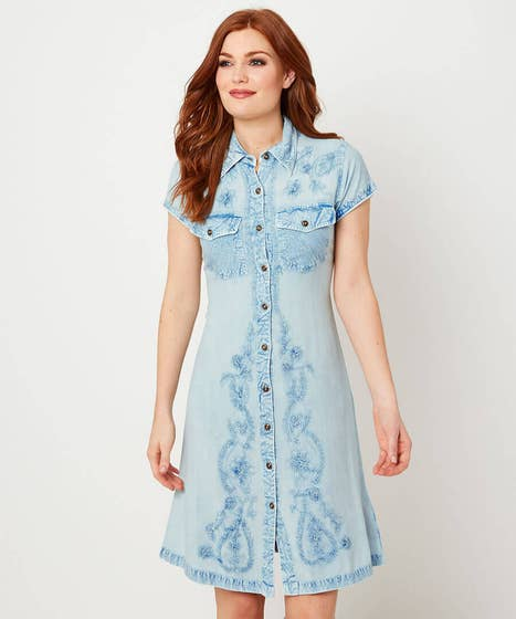 Button Through Embroidered Dress