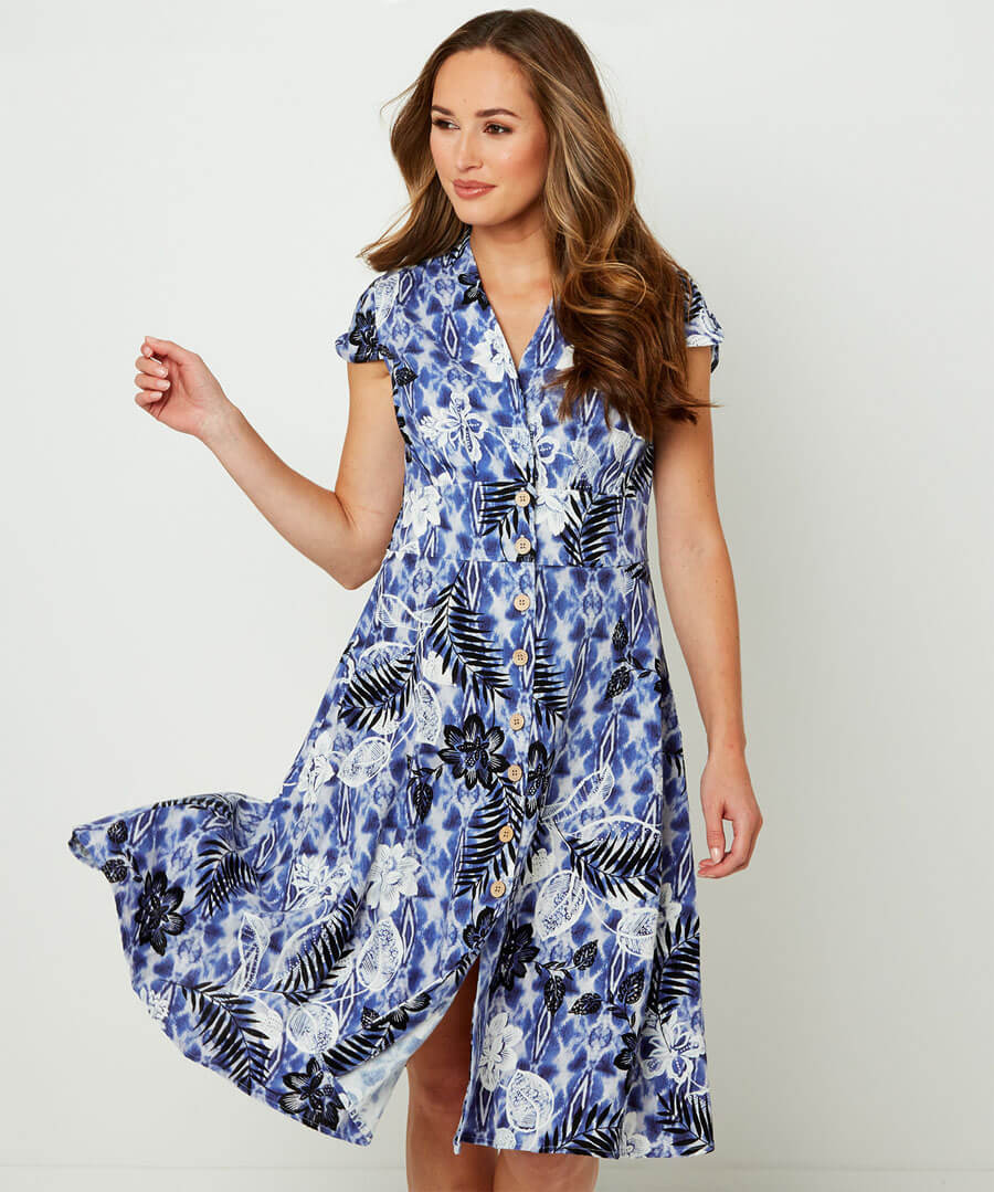 Perfect Palm Dress Model Front