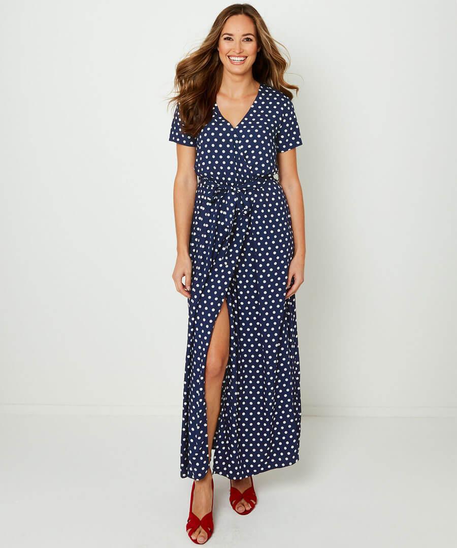 Polka Dot Wrap Dress Model Front