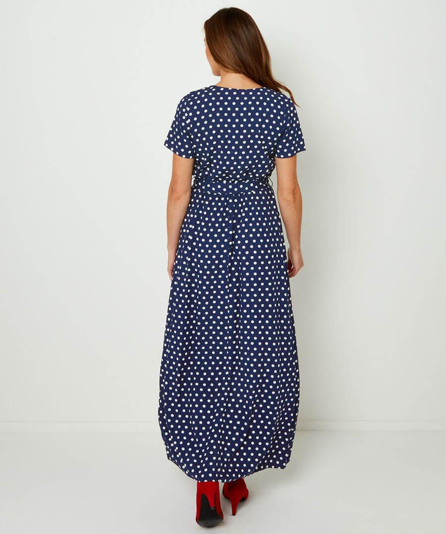 Polka Dot Wrap Dress Model Back
