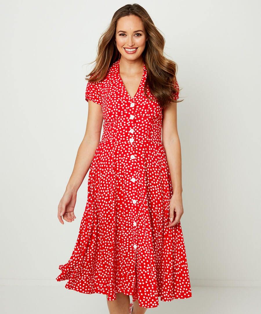 Flattering Button Through Dress Model Front