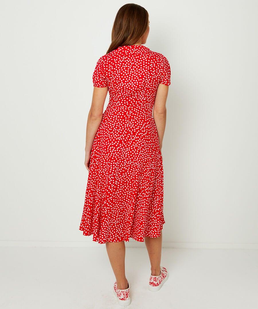 Flattering Button Through Dress Model Back