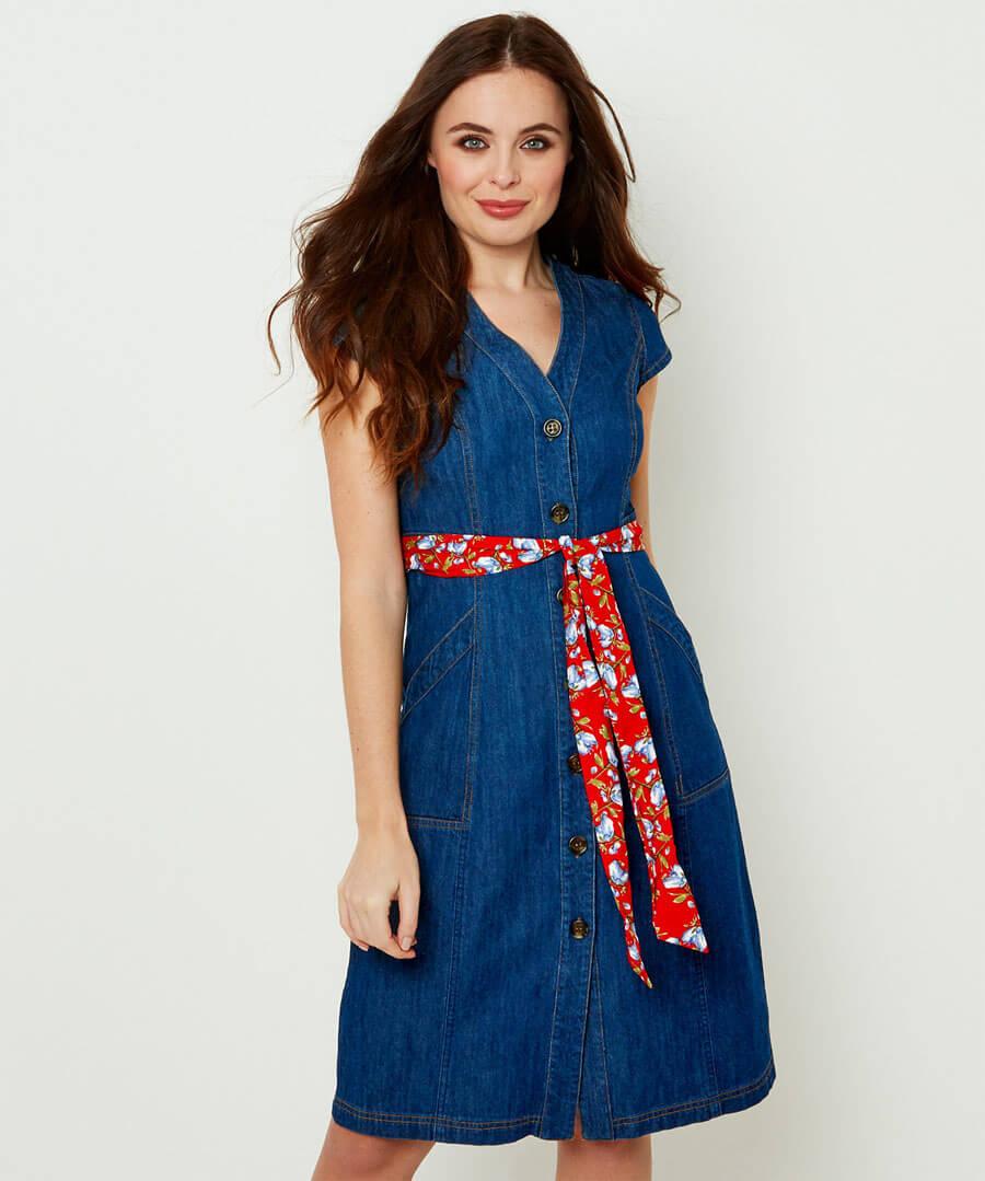 Delightful Denim Dress Model Front