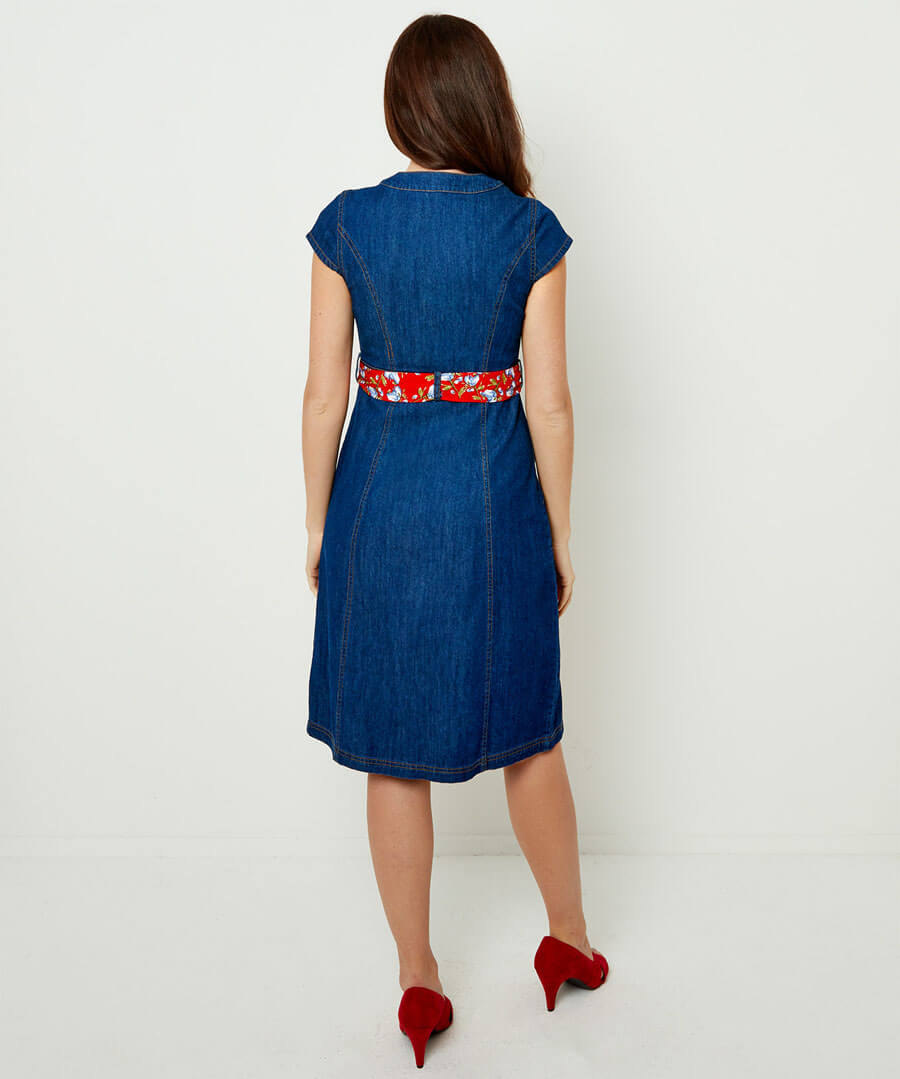 Delightful Denim Dress Model Back