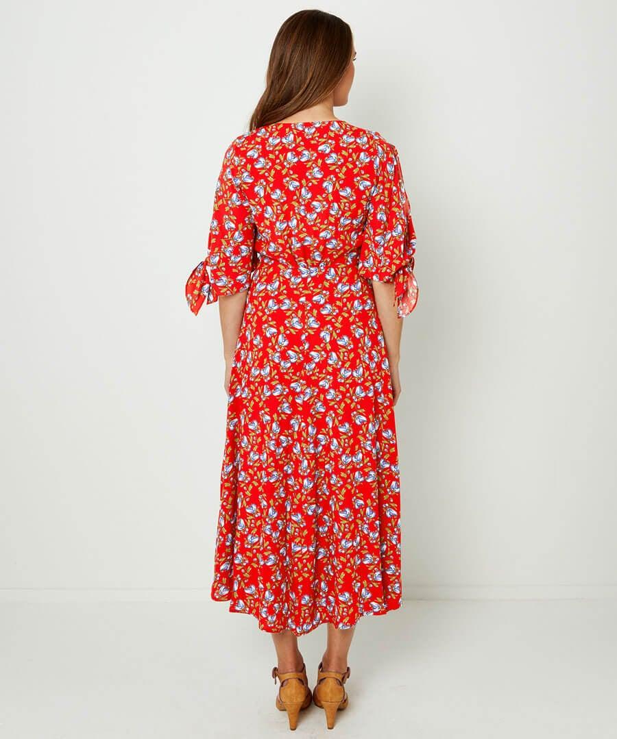 Button Through Vintage Dress Model Back