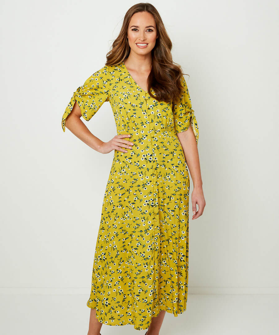 Flattering Floral Dress Model Front