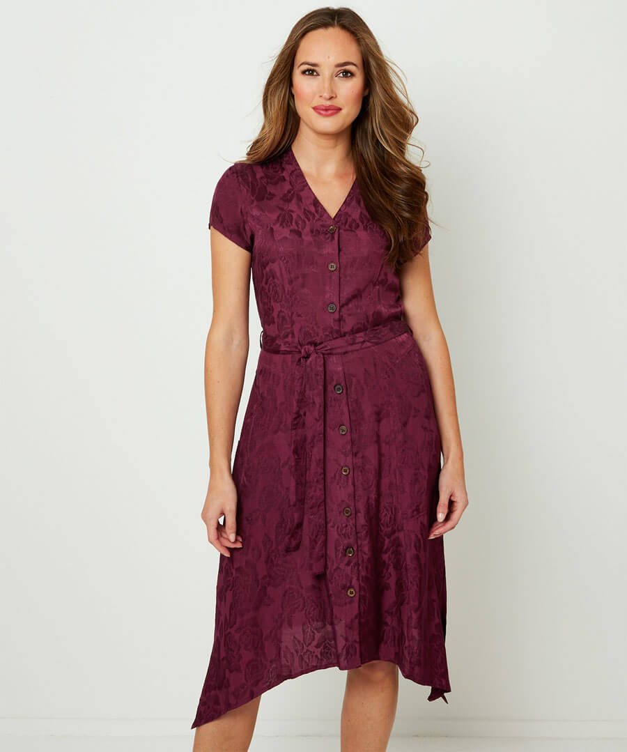 Button Through Jacquard Dress Model Front