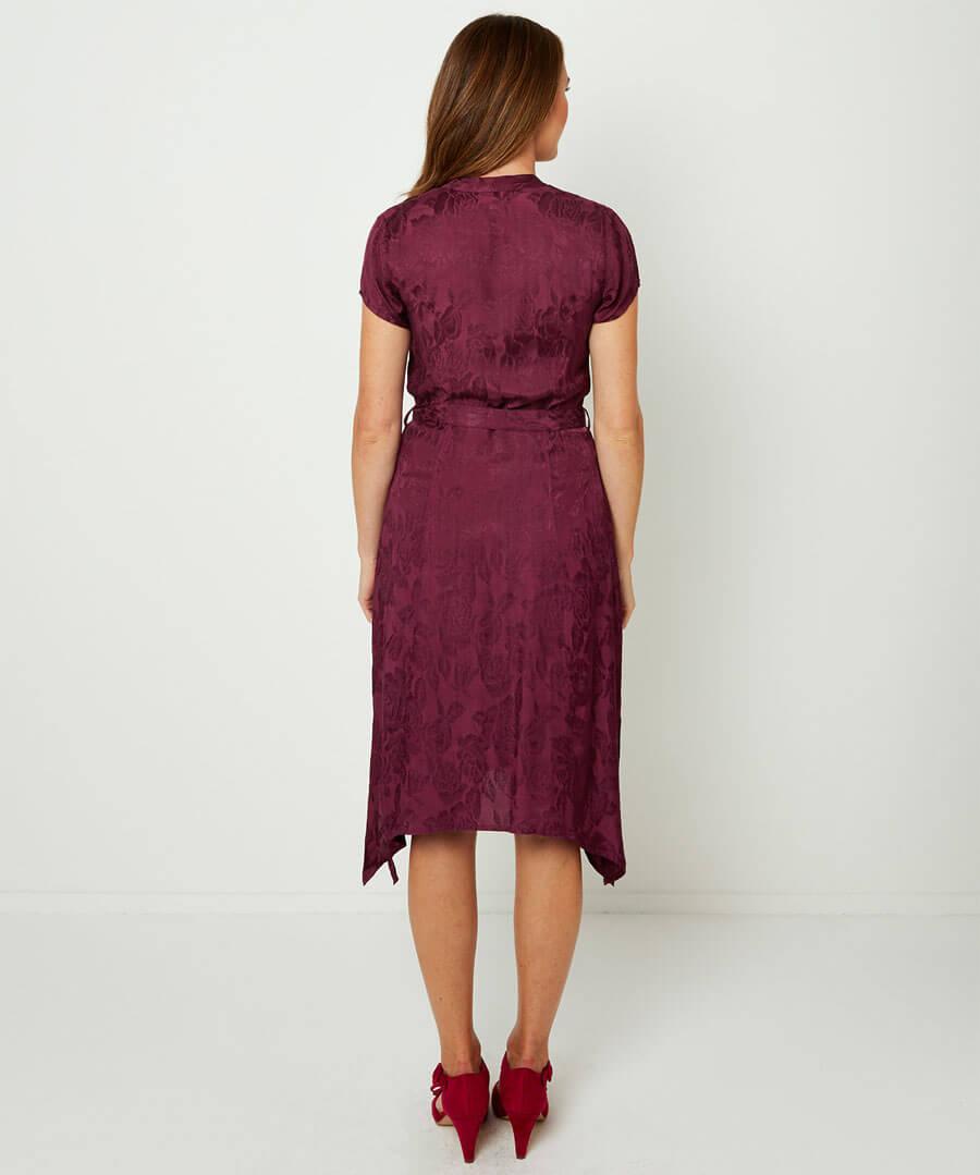 Button Through Jacquard Dress Model Back