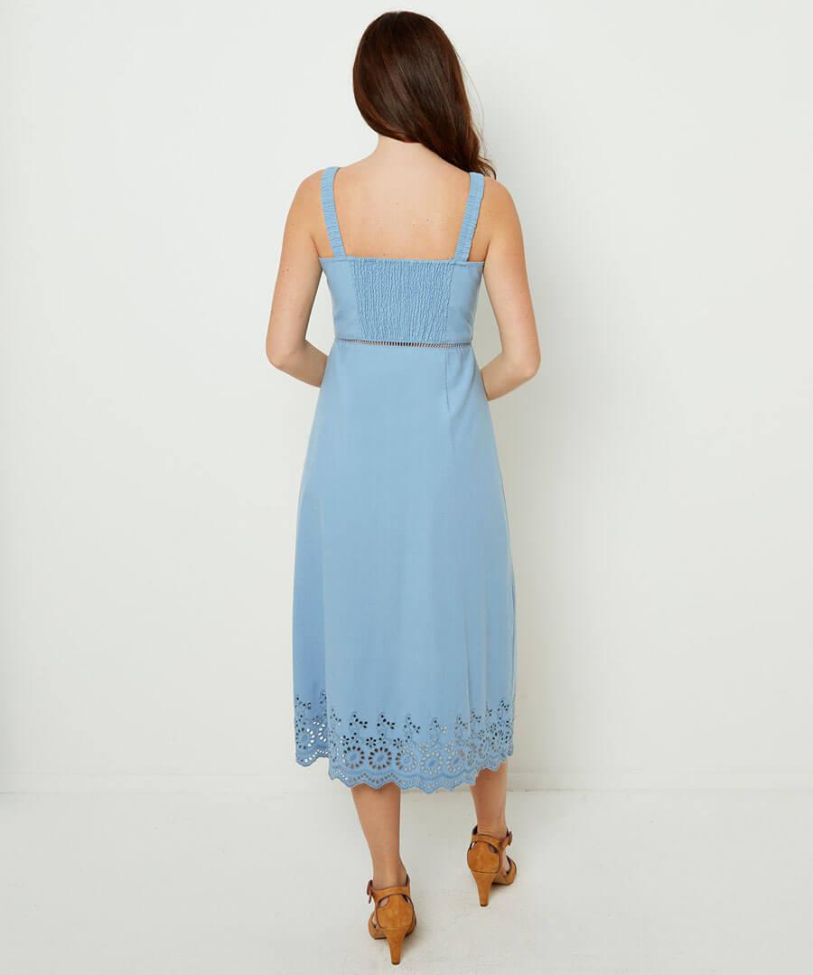 Beautiful Broderie Dress Model Back