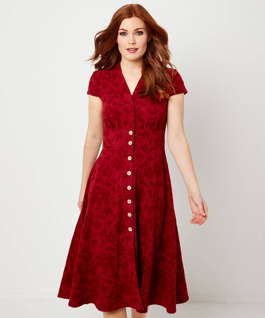 Jovial Jacquard Dress Model Front