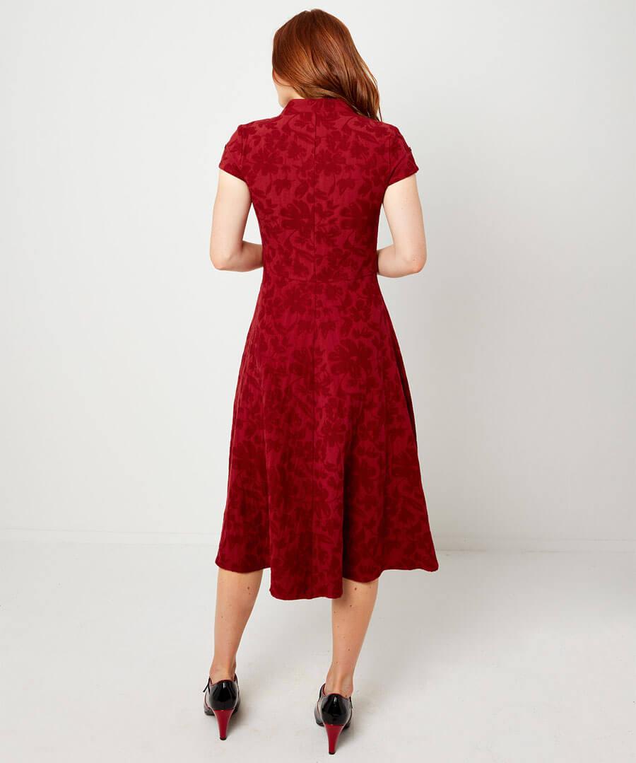Jovial Jacquard Dress Model Back