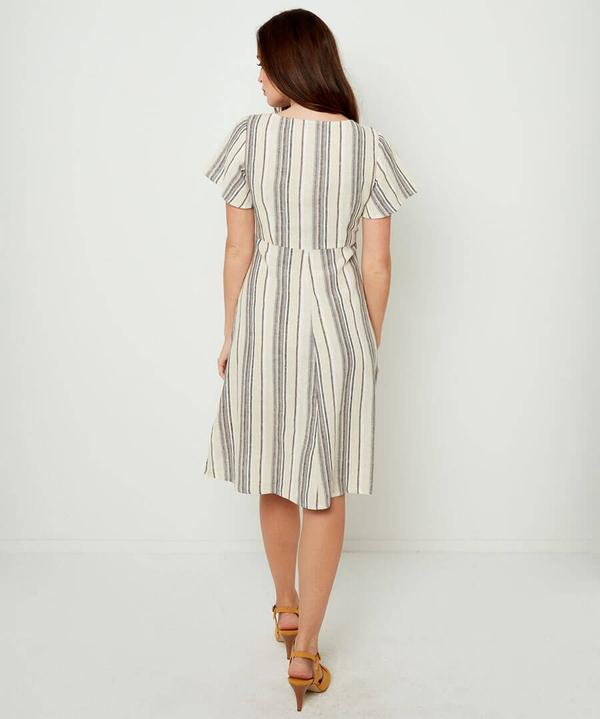 Linen Mix Stripe Dress