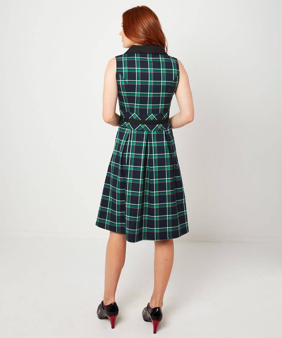 Sleeveless Check Dress Model Back