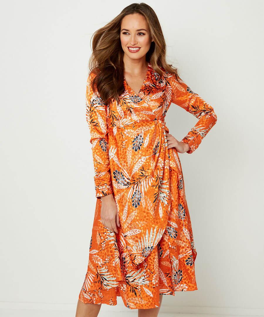 Elegant Wrap Dress Model Front