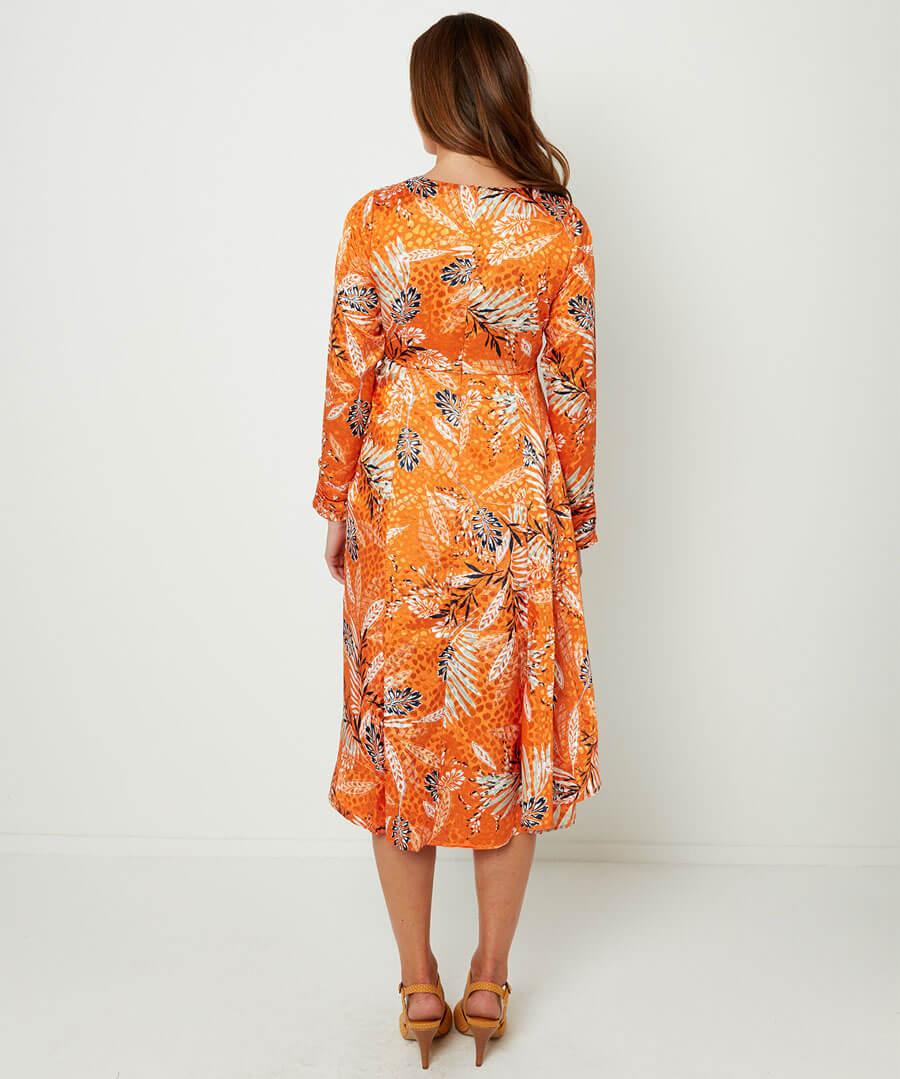 Elegant Wrap Dress Model Back
