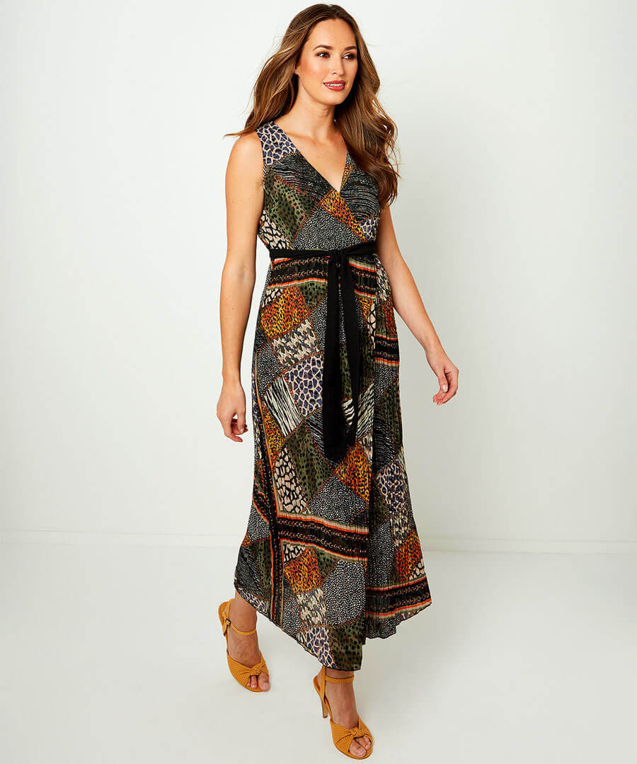 Reversible Wrap Dress Model Front