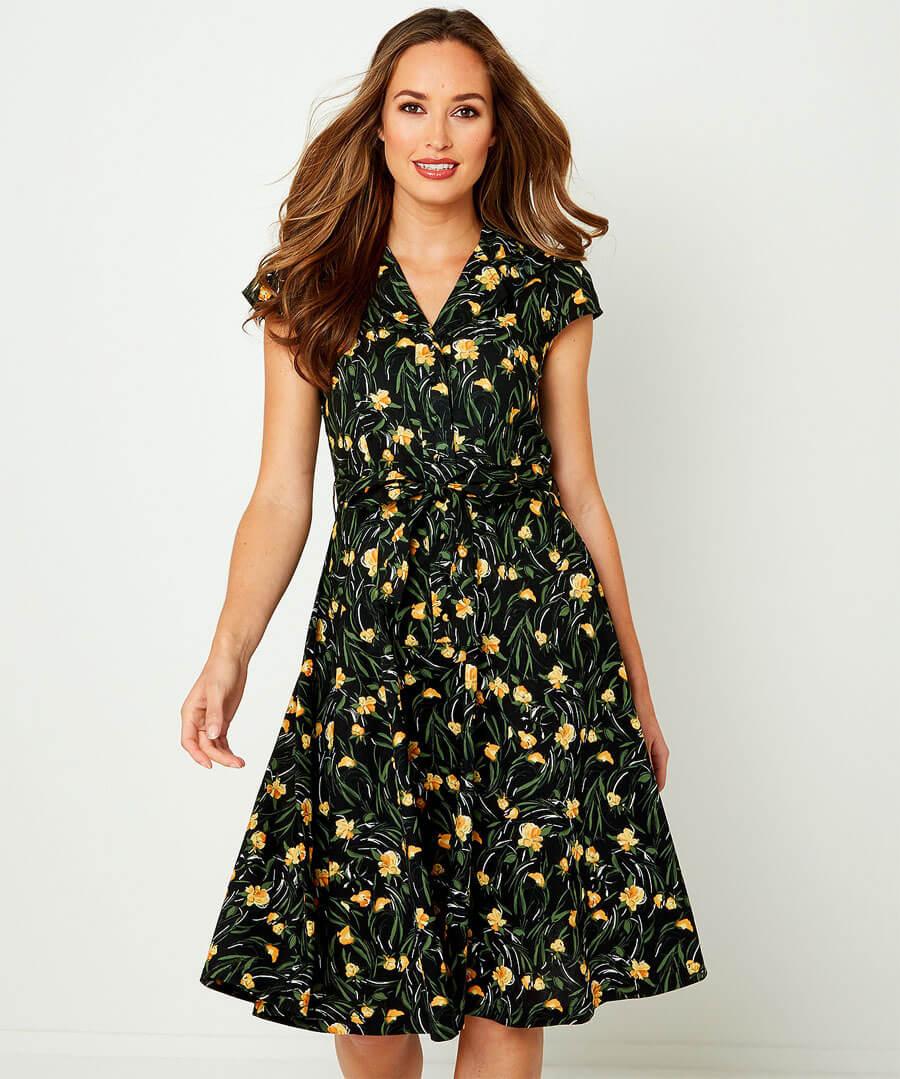 Floral Shirt Dress Model Front