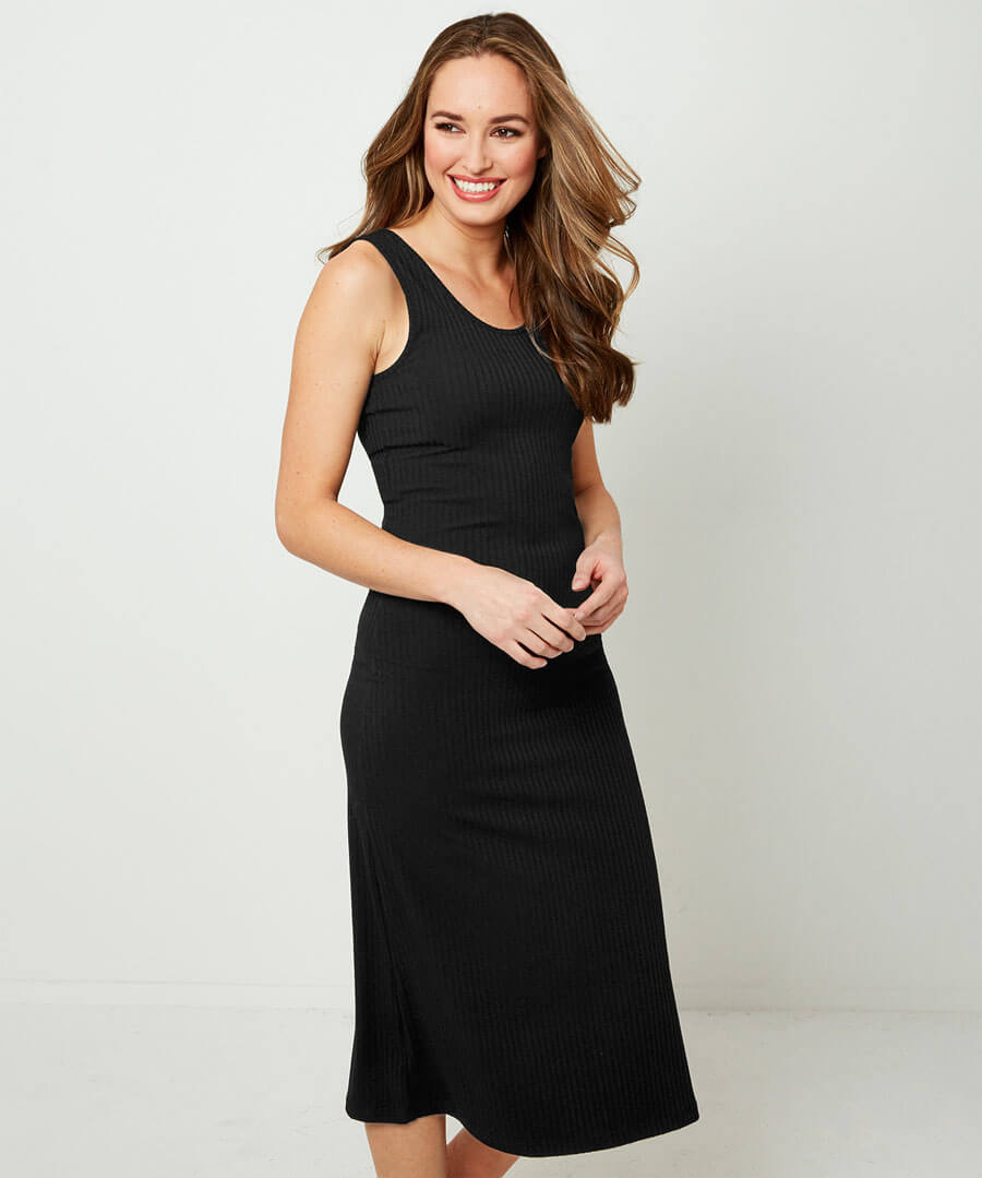 Ribbed Jersey Dress Model Front