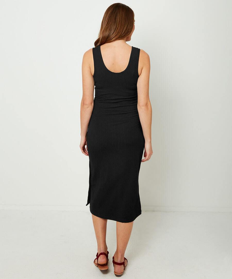 Ribbed Jersey Dress Model Back