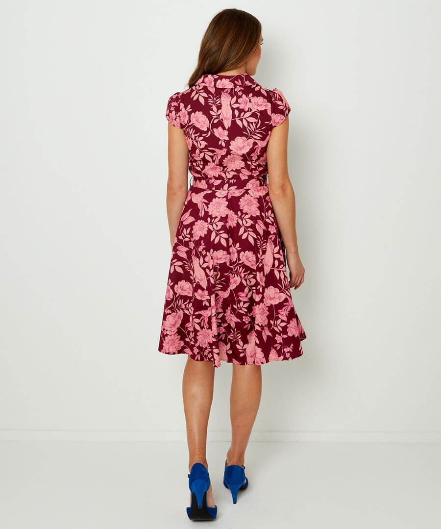 Unique Print Shirt Dress Model Back