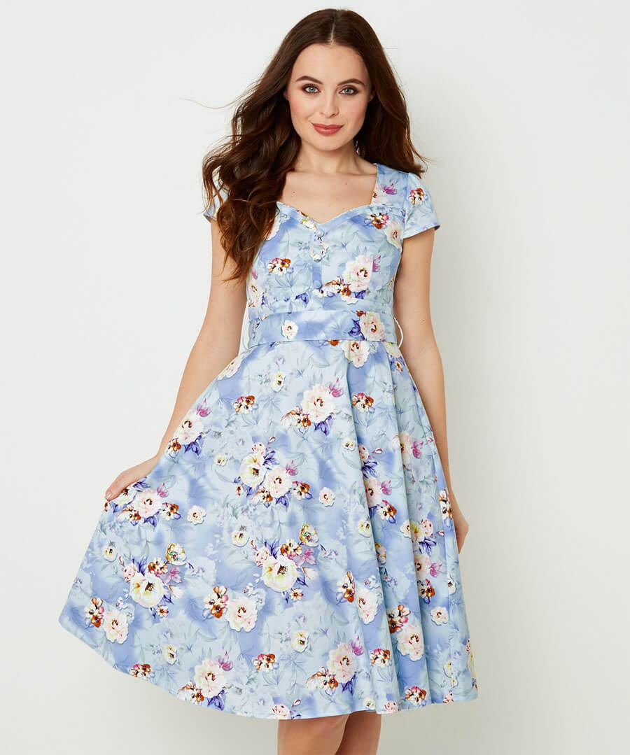 Stunning Vintage Print Dress Model Front