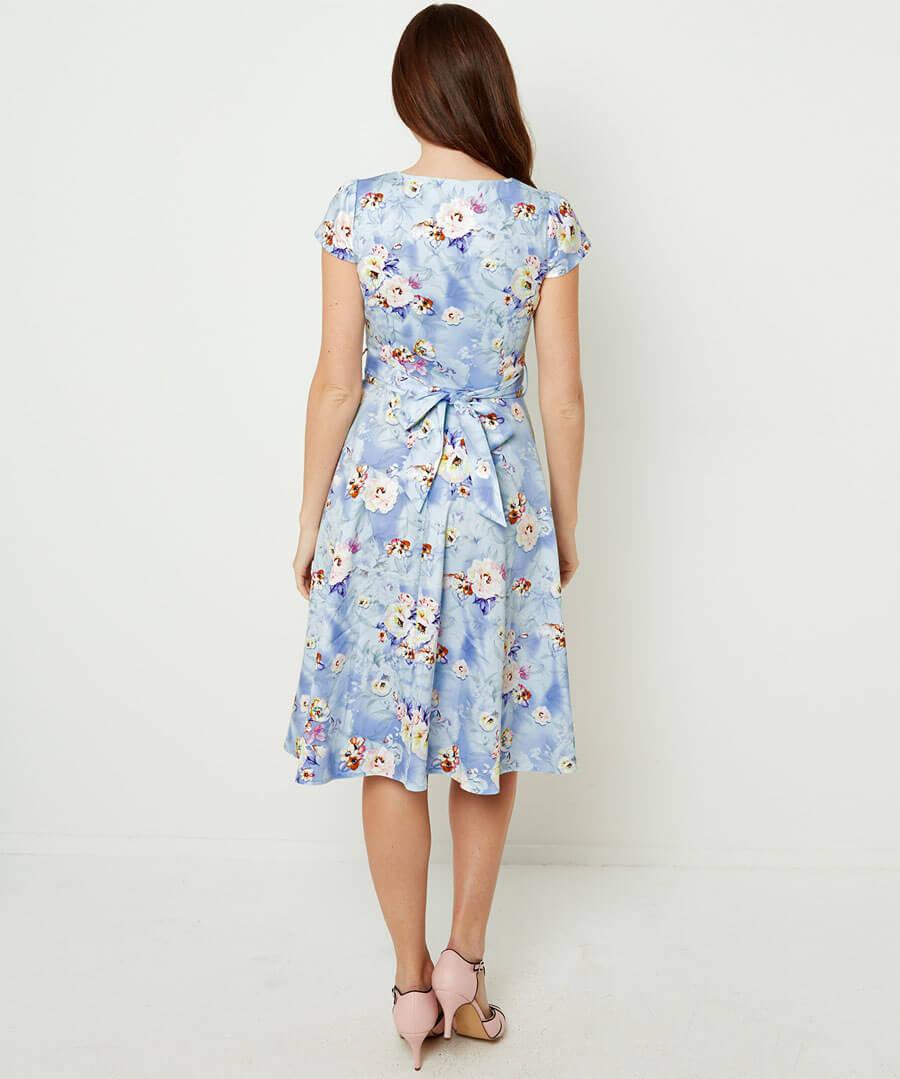 Stunning Vintage Print Dress Model Back