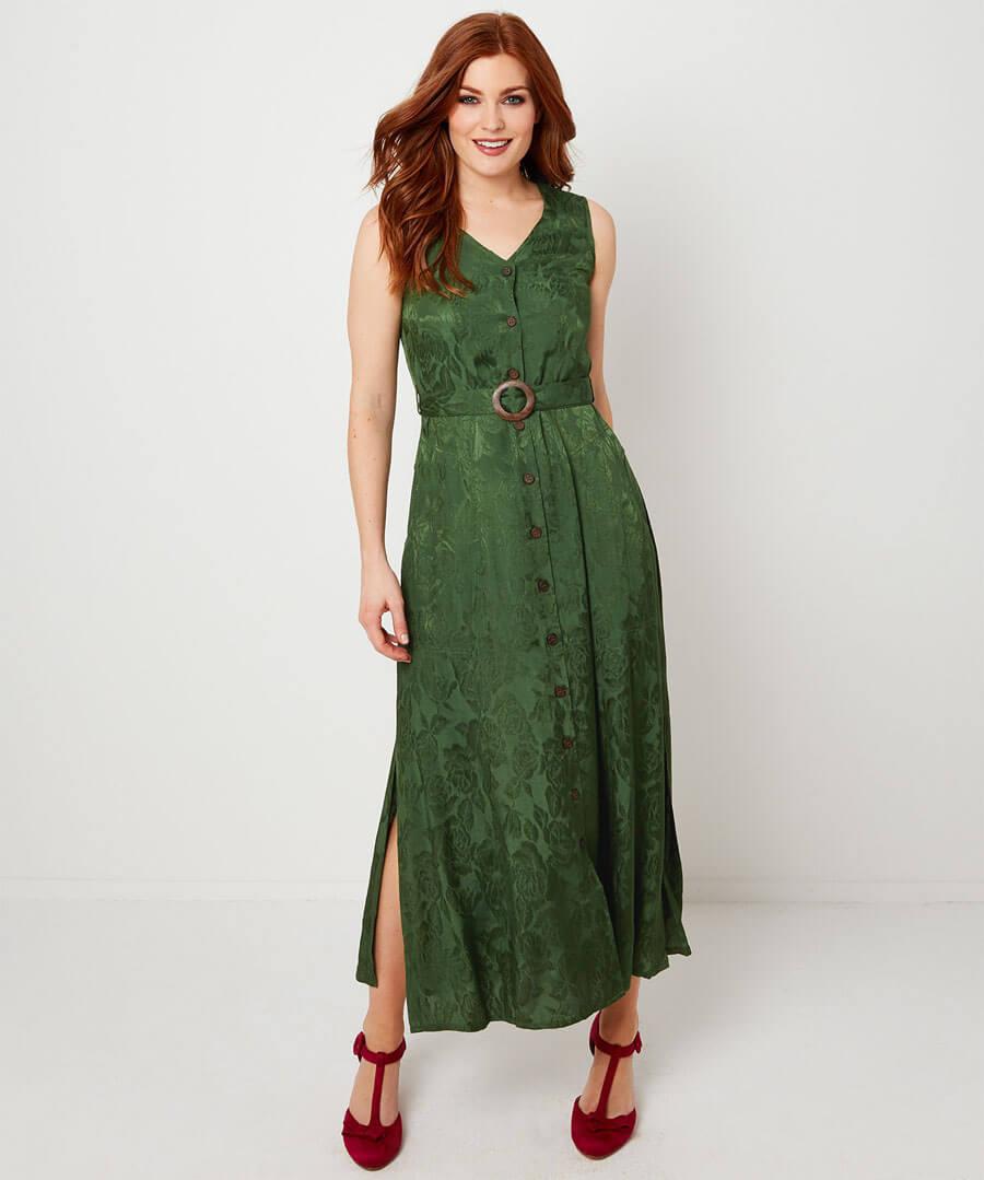Sleeveless Jacquard Dress Model Front