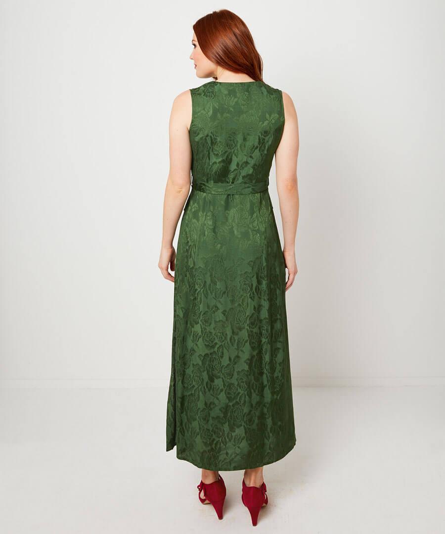 Sleeveless Jacquard Dress Model Back
