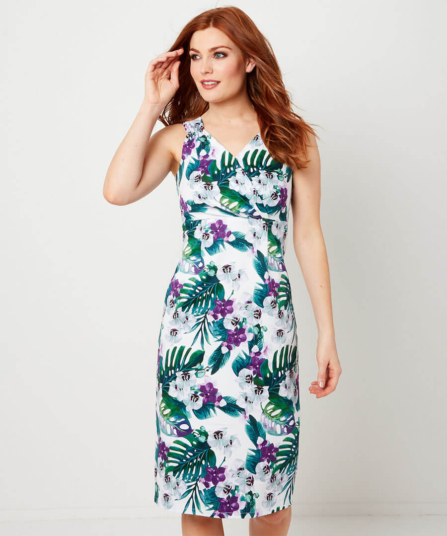 Flattering Fitted Dress Model Front