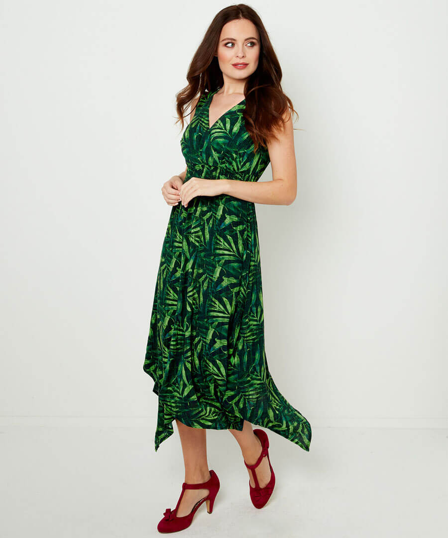 Wowing Palm Leaf Dress Model Front
