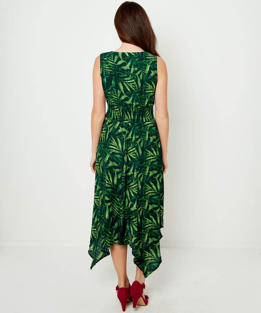 Wowing Palm Leaf Dress Model Back